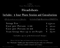 Headshots Price List